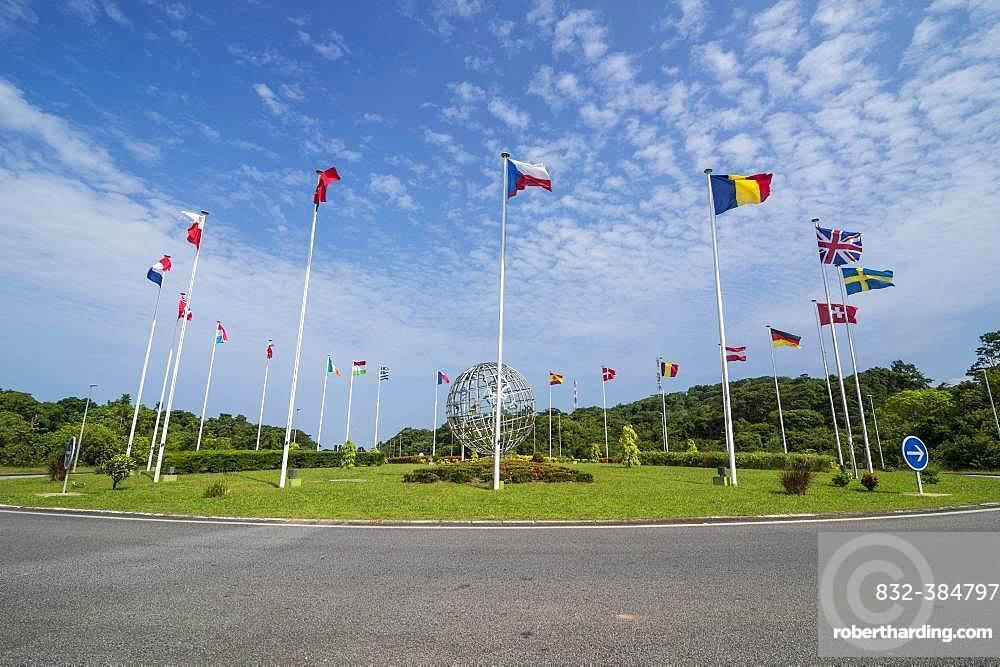 International flags, European space center, Kourou, French Guiana, South America