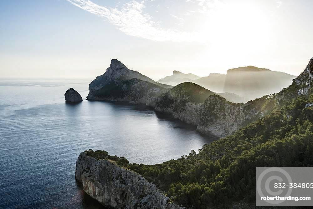 Morning atmosphere over sea with rocky coast, Cap Formentor, Port de Pollenca, Serra de Tramuntana, Majorca, Balearic Islands, Spain, Europe
