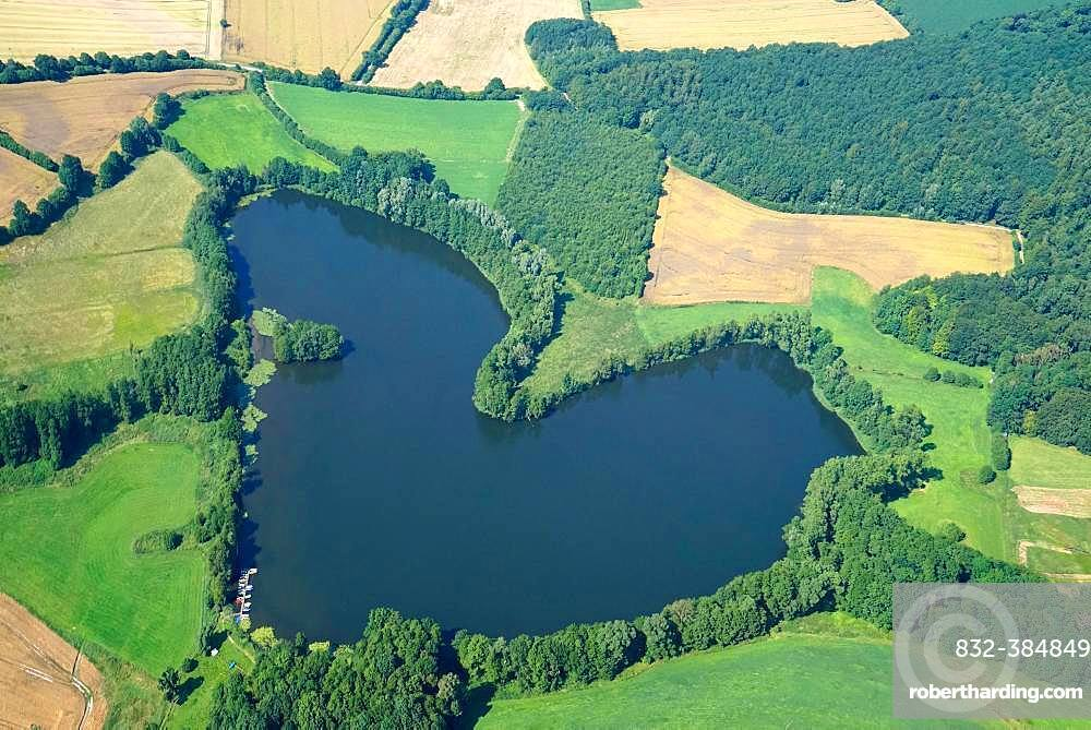 Heart-shaped lake in the Duchy of Lauenburg, Ankersee, Schleswig-Holstein, Germany, Europe