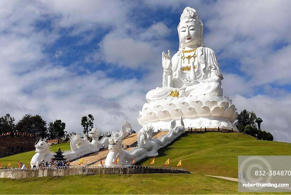 Giant Guan Yin statue sitting on lotus flower, Wat Huay Pla Kang Temple, Chiang Rai, Northern Thailand, Thailand, Asia