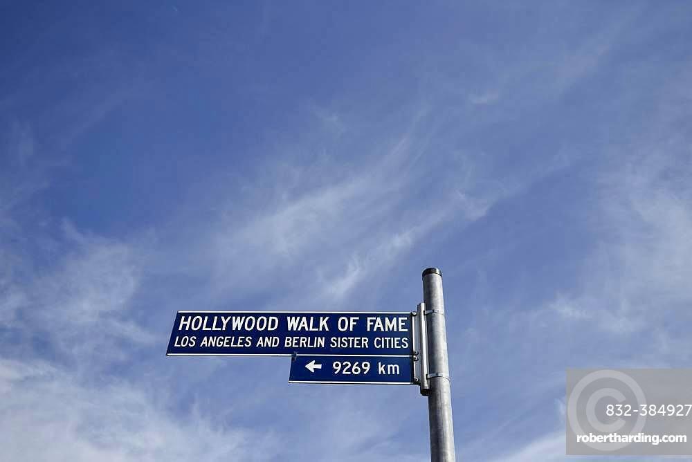Street sign Hollywood Walk of Fame, Potsdamer Platz, Berlin, Germany, Europe