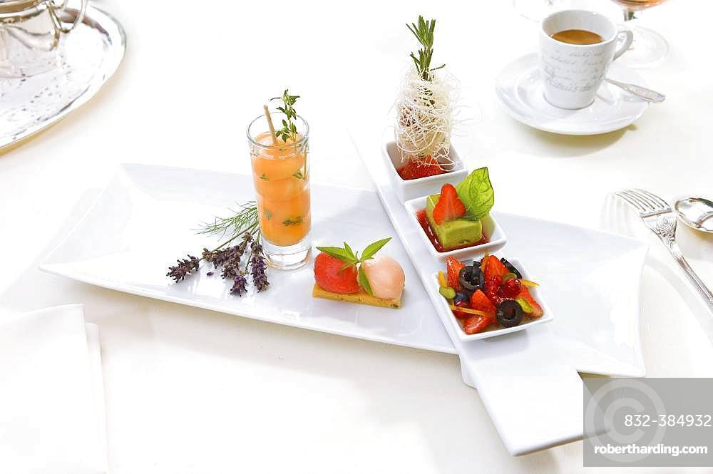 Dessert plate, fruit, ice cream, coffee, Germany, Europe
