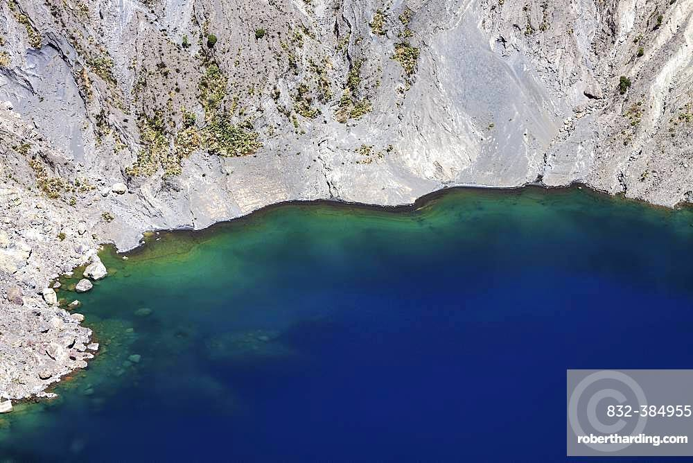 Blue crater lake in the main crater of Irazu Volcano, Irazu Volcano National Park, Parque Nacional Volcan Irazu, Cartago Province, Costa Rica, Central America