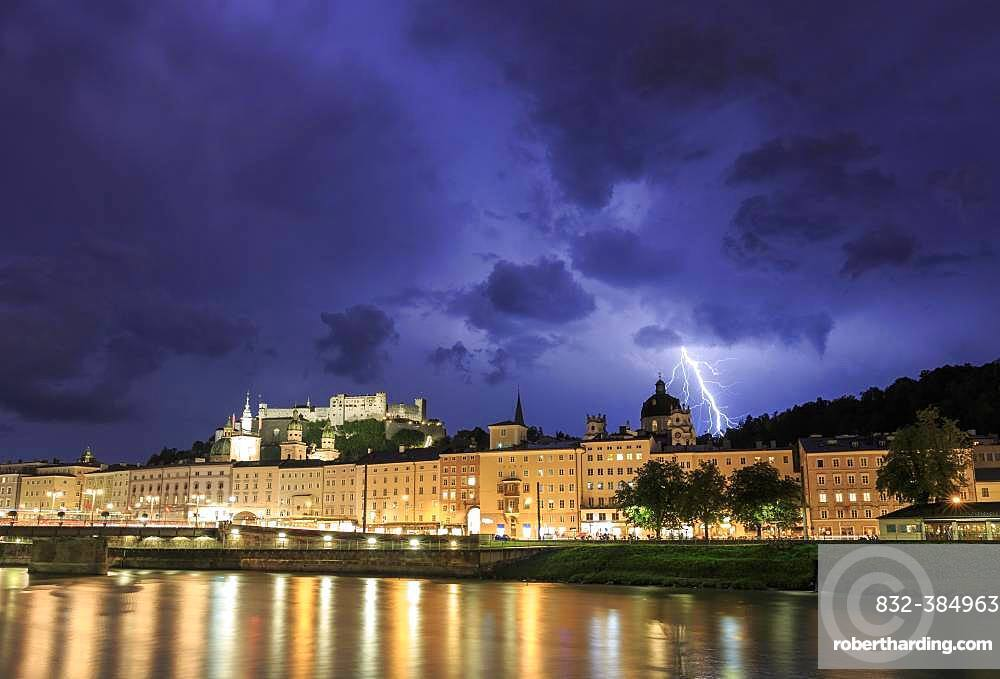 City view, old town and fortress Hohensalzburg with lightning during thunderstorms, Salzburg, Salzburg State, Austria, Europe