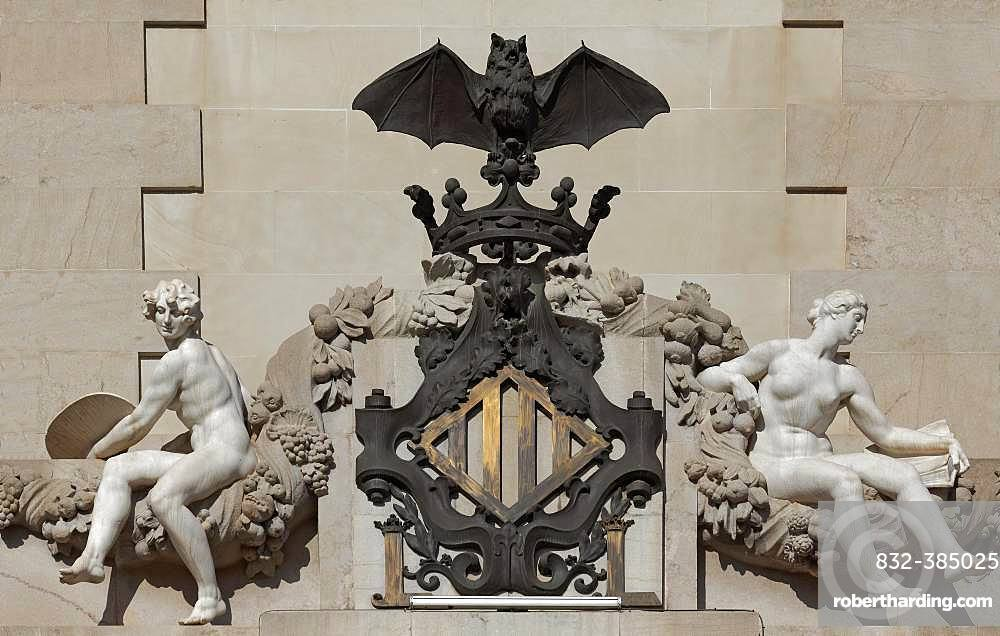 City coat of arms with bat and female figures by Mariano Benlliure, City Hall, Ajuntament, Valencia, Spain, Europe