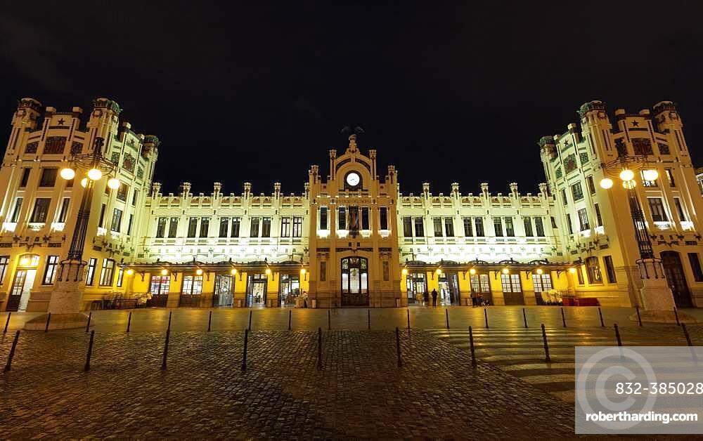 Central Station, Estacio del Nord, night, illuminated, Valencian Modernism, Valencia, Spain, Europe