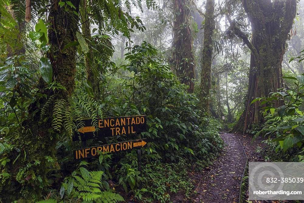 Sign on Encantado Trail, dense vegetation in cloud forest, Reserva Bosque Nuboso Santa Elena, Guanacaste Province, Costa Rica, Central America