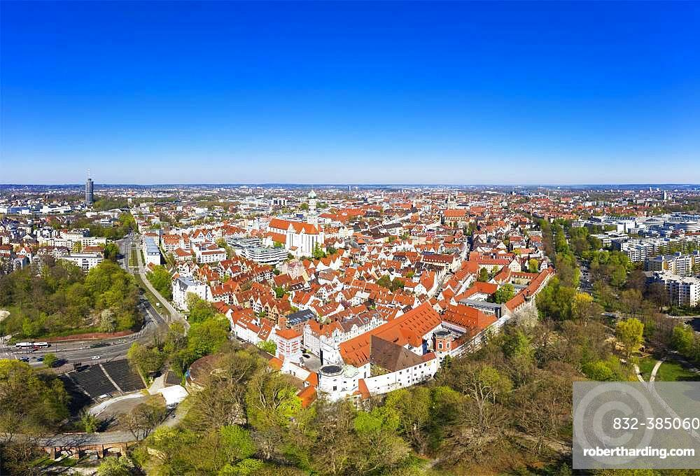 Open-air stage at the Red Gate and Basilica St. Ulrich and Afra, downtown, Augsburg, drone shot, Swabia, Bavaria, Germany, Europe