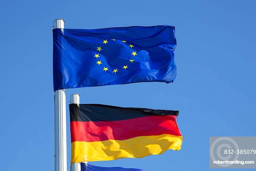 Waving European Flag and German Flag, Mecklenburg-Western Pomerania, Germany, Europe