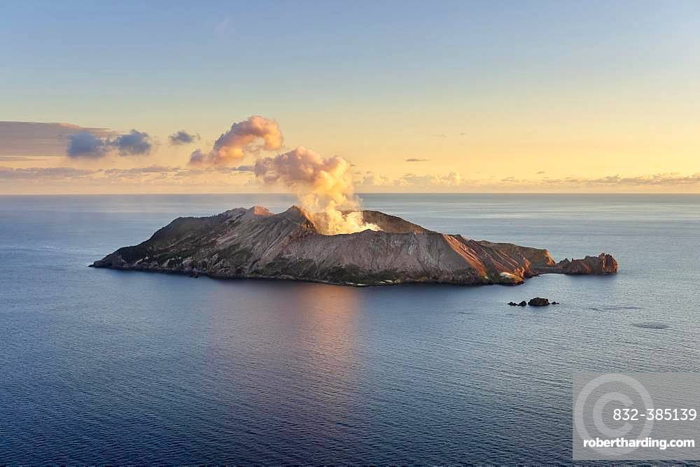 Aerial view of the volcanic island White Island with rising steam from the crater, morning mood, Whakaari, volcanic island, Bay of Plenty, North Island, New Zealand, Oceania