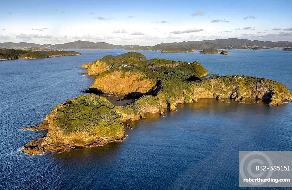 Aerial view of an island in the Bay of Islands, Far North District, North Island, New Zealand, Oceania