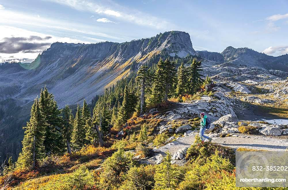 Female hiker on hiking trail at Artist Point, mountain landscape in autumn, Tabletop Mountain in the back, Mount Baker-Snoqualmie National Forest, Washington, USA, North America