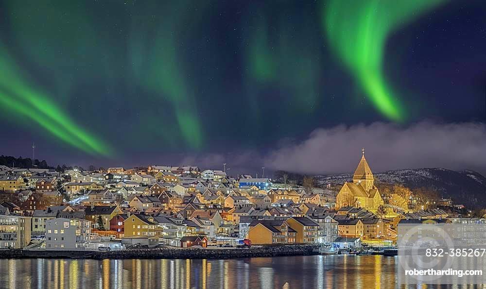 Night photo from the Hurtigruten ship, Kristiansund, Norway, Europe