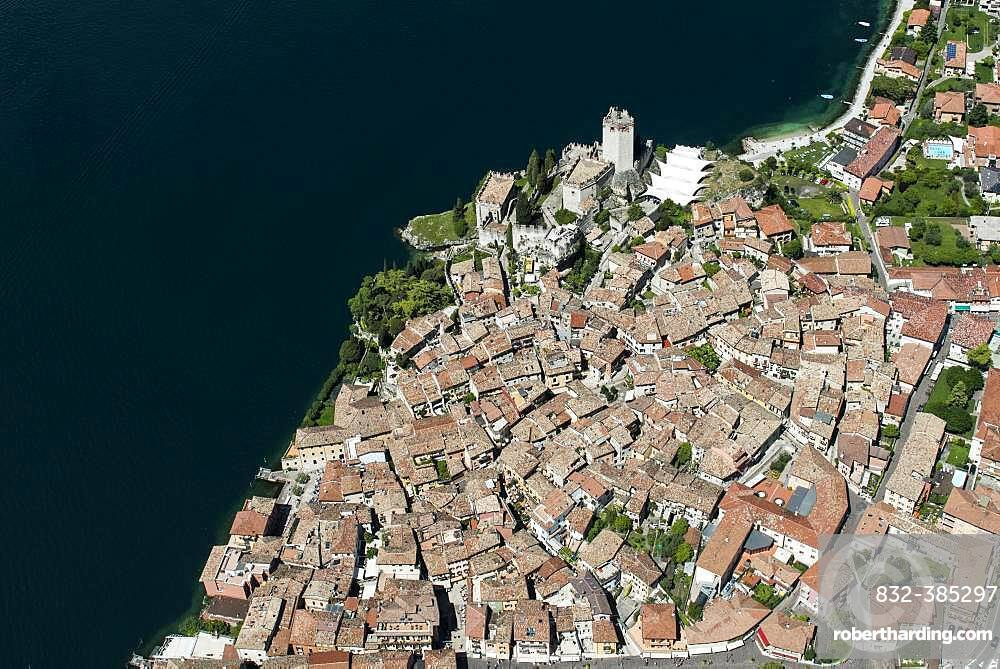 Old Town and Castello di Malcesine, Malcesine on Lake Garda, aerial view, Province of Veneto, Italy, Europe