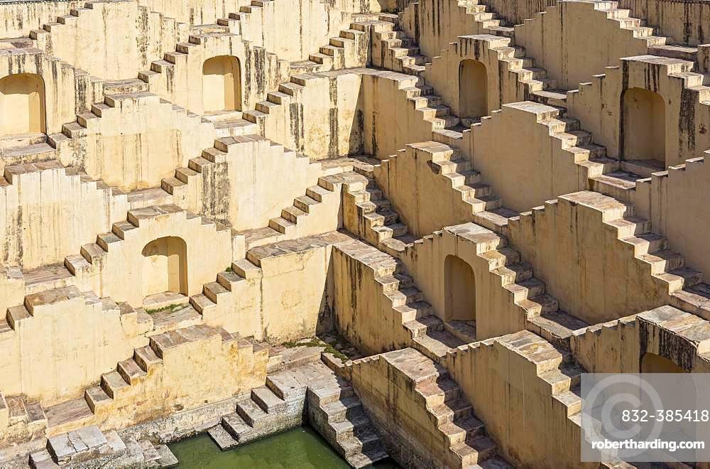 Staircases of Panna Meena ka Kund stepwell, Amber near Jaipur, Rajasthan, India, Asia