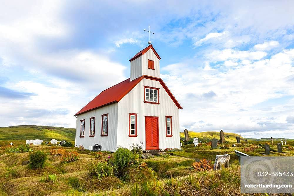 Small church with red roof and cemetery, South Iceland, Iceland, Europe
