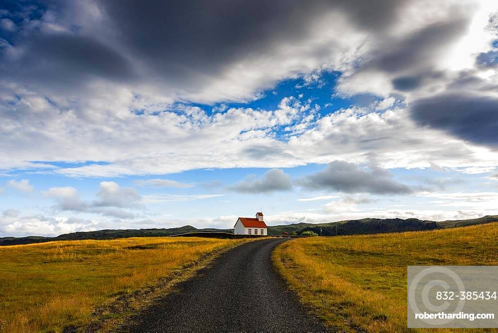 Small church with red roof in South Iceland, Iceland, Europe