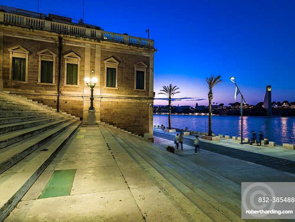 Wide staircase at the harbour at dusk, promenade, Brindisi, Puglia, Italy, Europe