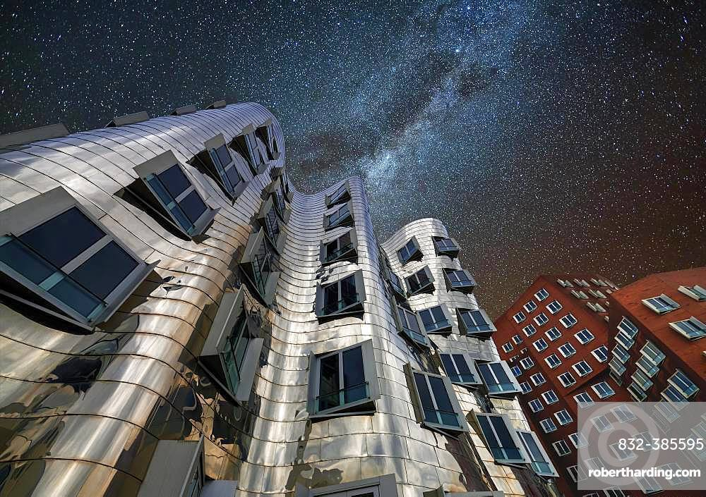 Gehry buildings at night, starry sky, Duesseldorf, Germany, Europe