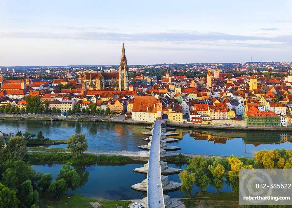 View over Danube and Old Town, Cathedral and Stone Bridge, Regensburg, aerial view, Upper Palatinate, Bavaria, Germany, Europe