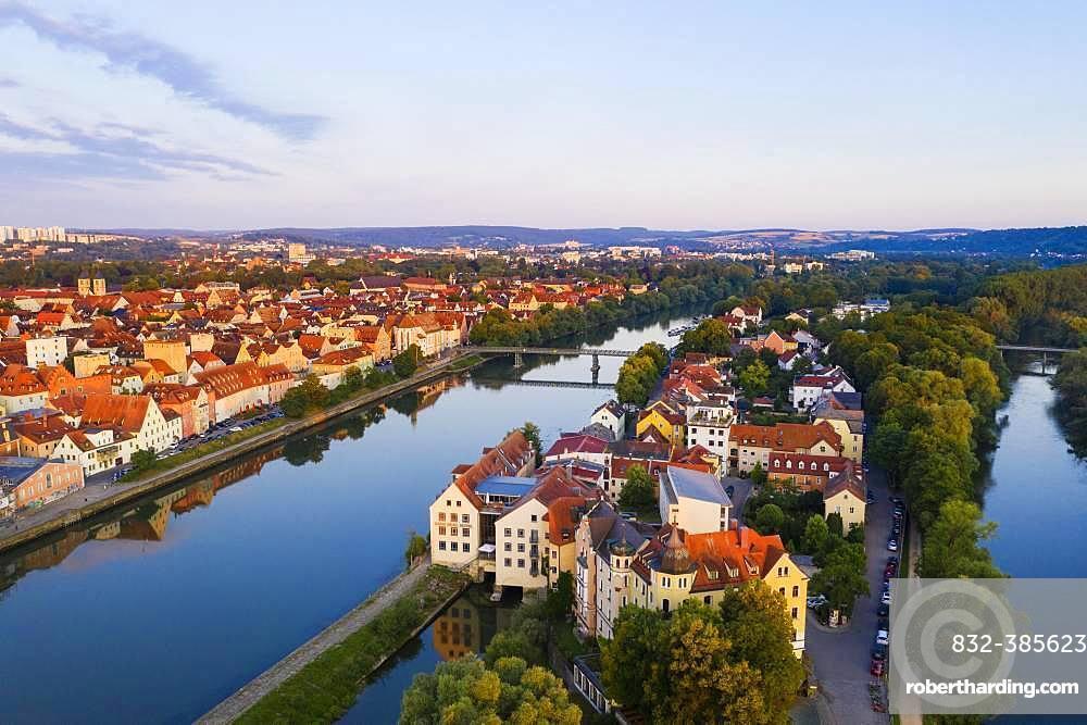 Danube Island Upper Woehrd and Old Town, Regensburg, aerial view, Upper Palatinate, Bavaria, Germany, Europe