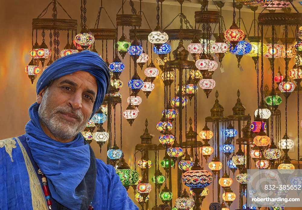 Moroccans in front of a shop with oriental lamps, Rinteln, Germany, Europe