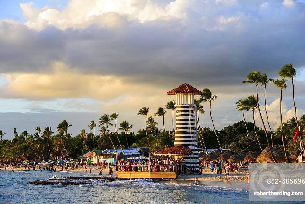Lighthouse in the evening light, bar of Hotel Iberostar Hacienda Dominicus, beach Dominicus, Bayahibe, Dominican Republic, Central America