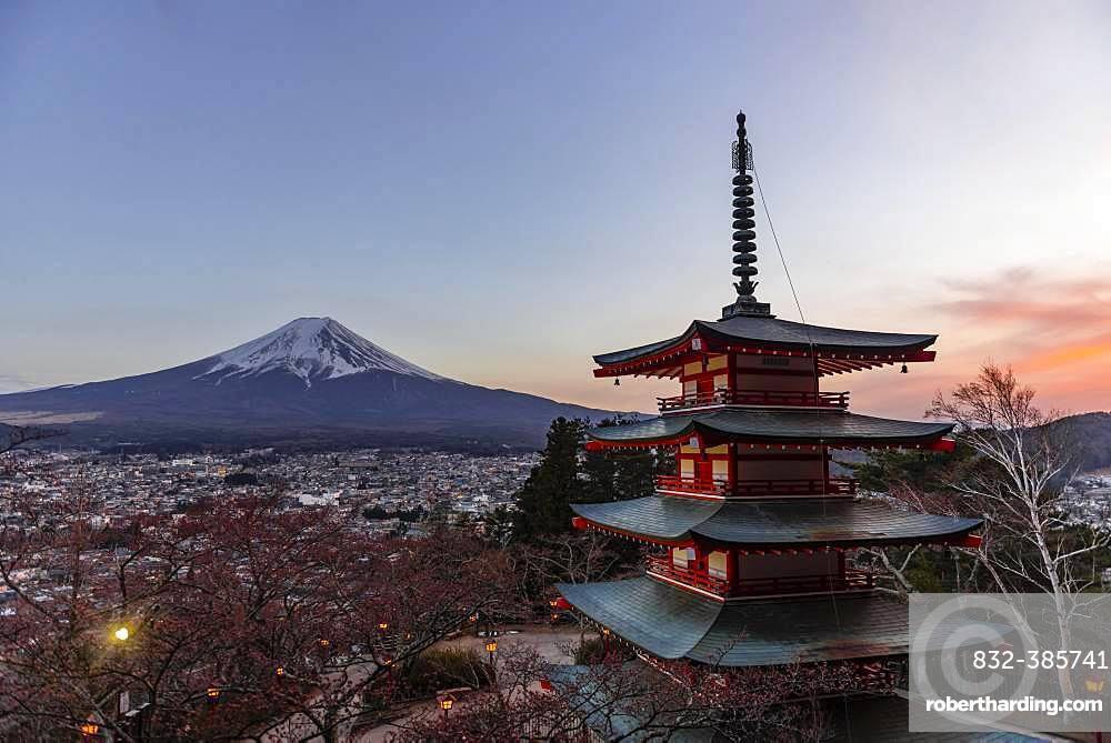 Five-storey pagoda, Chureito Pagoda, overlooking Fujiyoshida City and Mount Fuji Volcano, Yamanashi Prefecture, Japan, Asia