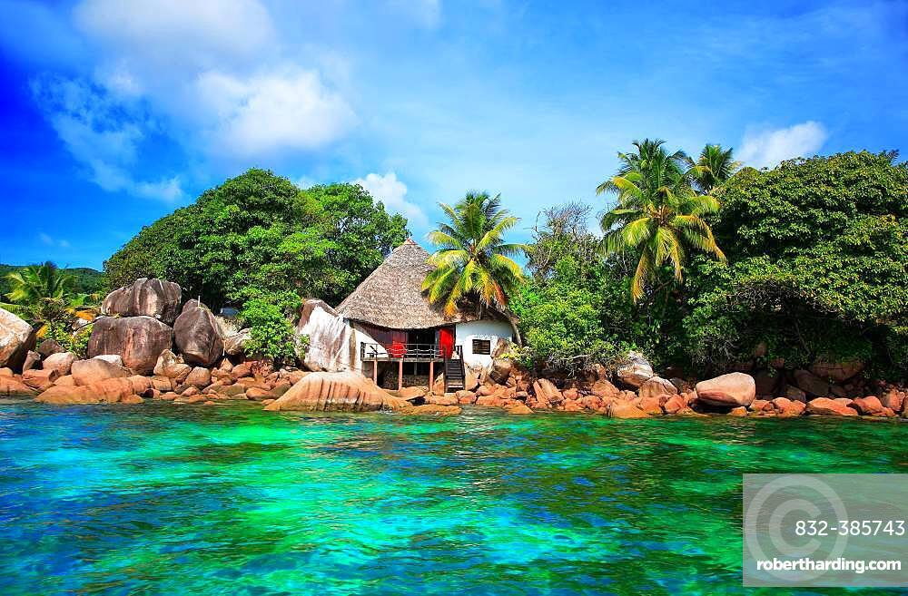 House on the coast of Chauve Souris Island, Seychelles, Africa