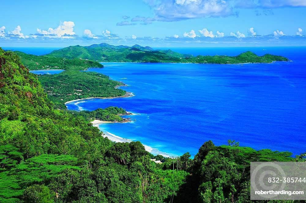Front bay Grand Anse, rear bay Anse Boileau and bay Anse A la Mouche, island Mahe, Seychelles, Africa