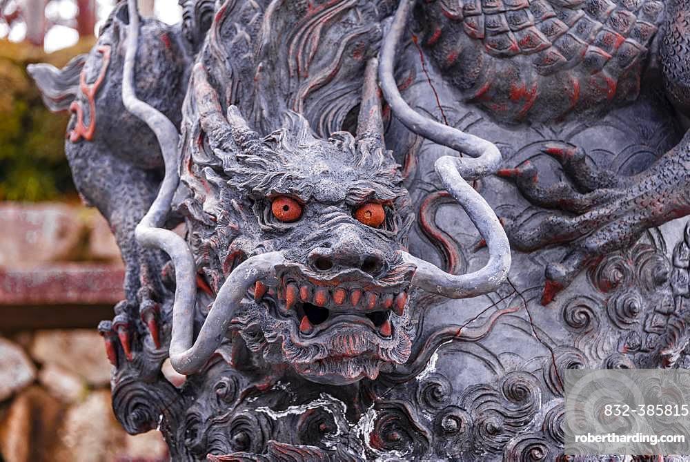 Dragon figure with red eyes, sculpture, Kiyomizu-dera temple, Buddhist temple, Kyoto, Japan, Asia