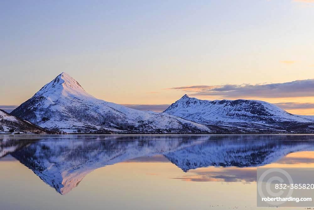 Midnight sun, snow-covered mountains Skinnkollen and Astritinden, water reflection in the fjord, Stonnesbotn Fjord, island Senja, Troms, Norway, Europe