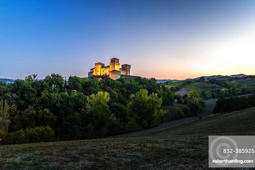 Blue hour at Castello di Torrechiara, Langhirano, Province of Parma, Emilia-Romagna, Italy, Europe