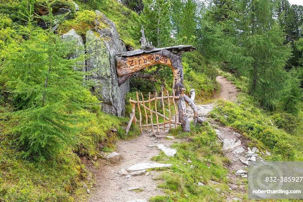 Entrance Zirbenweg, arolla pine pine forest, Graukogel, Bad Gastein, Hohe Tauern National Park, Austria, Europe