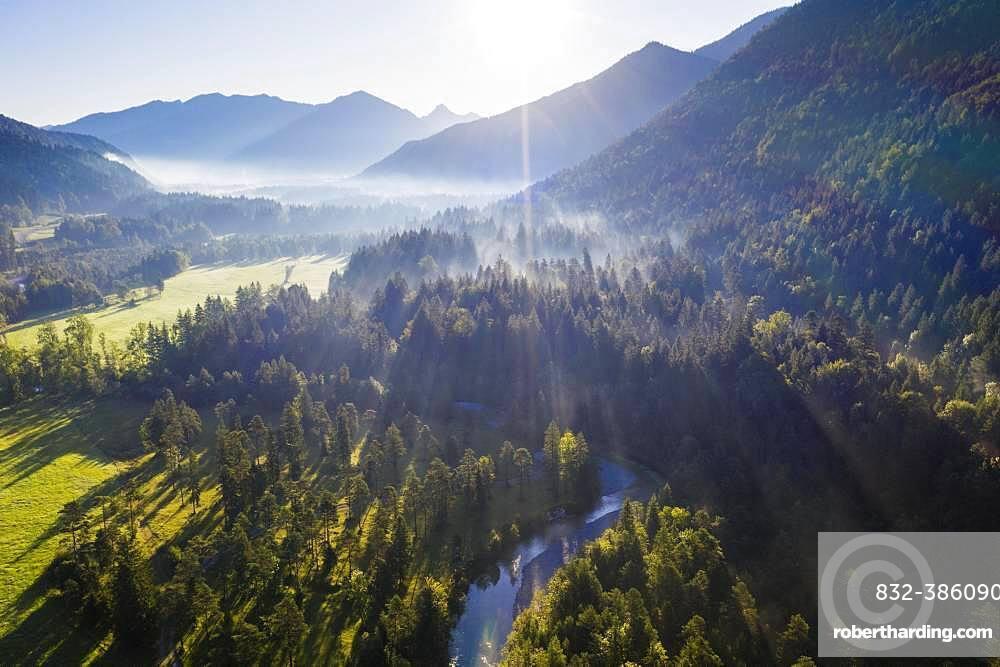 River Jachen, Jachenau near Lenggries, Isarwinkel, aerial view, Upper Bavaria, Bavaria, Germany, Europe