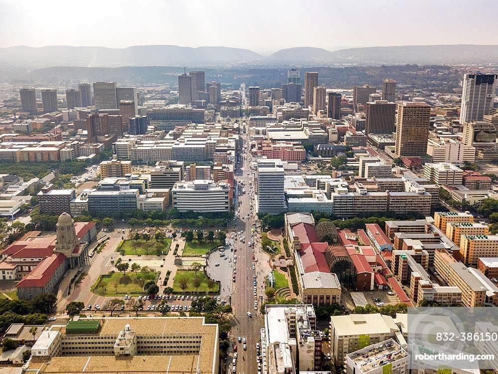 Aerial view of highrises of Pretoria downtown, Pretoria, South Africa, Africa