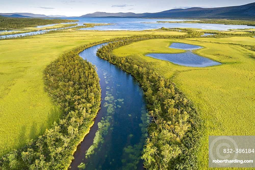 Aerial view, drone shot, meandering river landscape of the Rapa Valley near Nikkaluokta, Sarek National Park, Norrbottens laen, Sweden, Europe