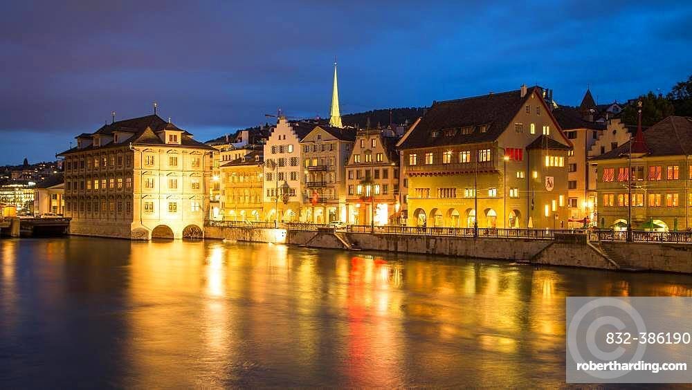 River Limmat with a view of the old town at dusk, Zurich, Switzerland, Europe