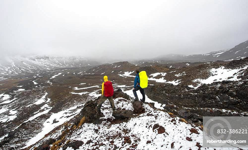 Hikers standing on stones, hiking trail Tongariro Alpine Crossing in snow over lava fields, Tongariro National Park, North Island, New Zealand, Oceania