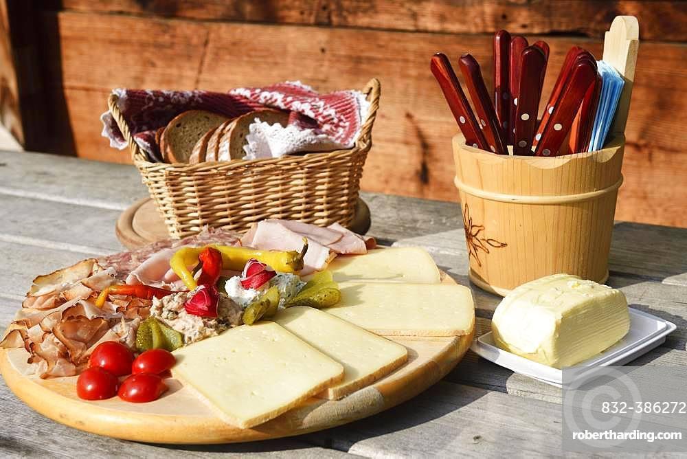 Snack plate at the Trockenbachalm, Kelchsau, Kitzbuehel Alps, Tyrol, Austria, Europe