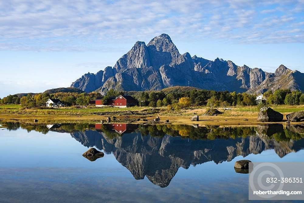 Autumnal landscape, water reflection with mountain, near Svolvaer, Lofoten, Norway, Europe