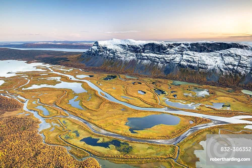 View from mountain Skierffe to the autumnal river delta Rapadalen, river Rapaaelv, Sarek National Park, Laponia, Lapland, Sweden, Europe