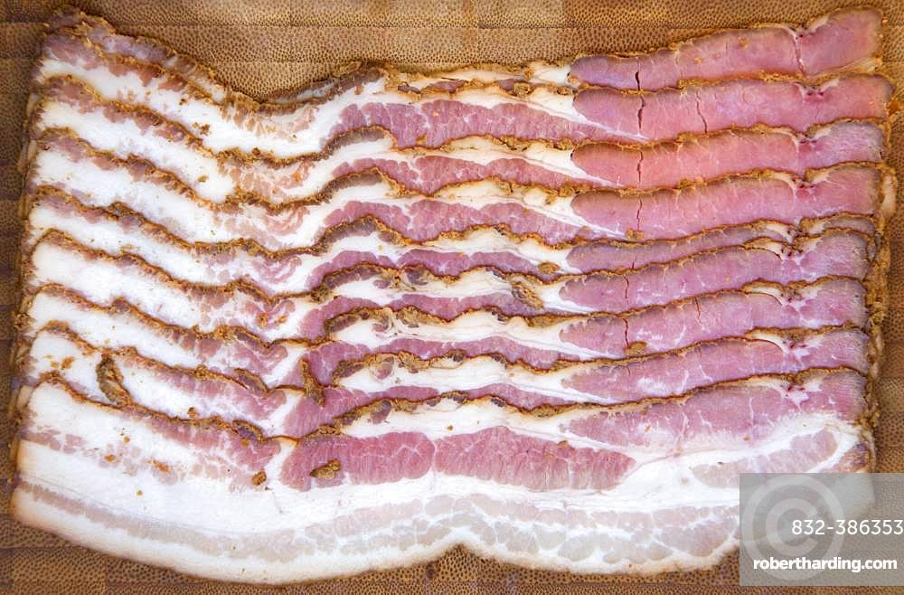 Sliced Tyrolean alpine bacon, smoked ham, Austria, Europe