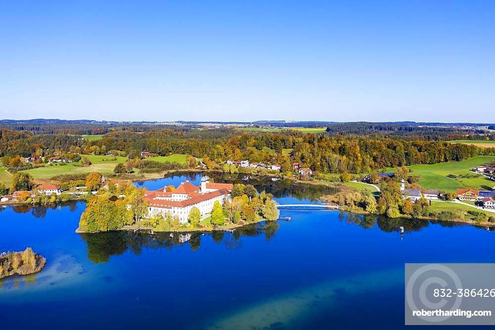 Seeon Monastery, Klostersee, Seeon-Seebruck, Chiemgau, aerial view, Upper Bavaria, Bavaria, Germany, Europe