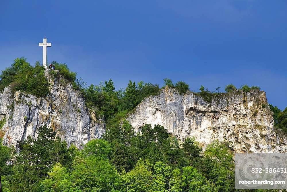 Rucken Cross, Memorial, Blaubeuren, Swabian Alb, Baden-Wuerttemberg, Germany, Europe