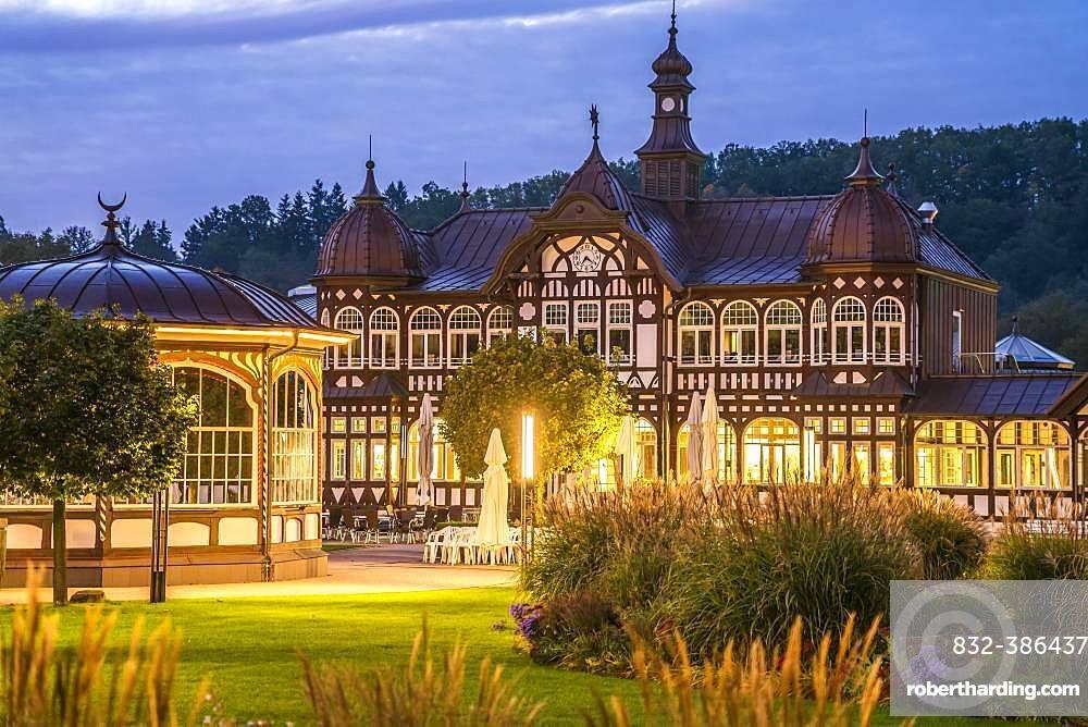 Spa hotel at dusk, Bad Salzungen, Thuringia, Germany, Europe
