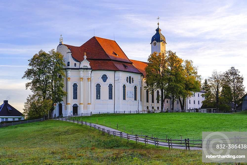 Wieskirche in the morning light, pilgrimage church to the Scourged Saviour on the Wies, Wies, near Steingaden, Pfaffenwinkel, Upper Bavaria, Bavaria, Germany, Europe