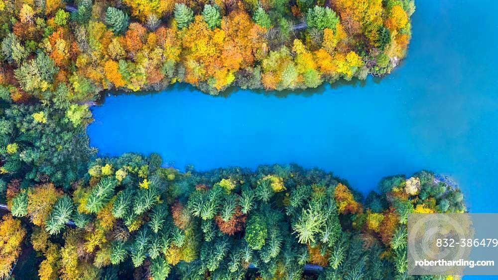 Drone shot, autumn in the Swabian Forest, Herrenbachstausee, Herrenbachtal, Goeppingen district, Baden-Wuerttemberg, Germany, Europe