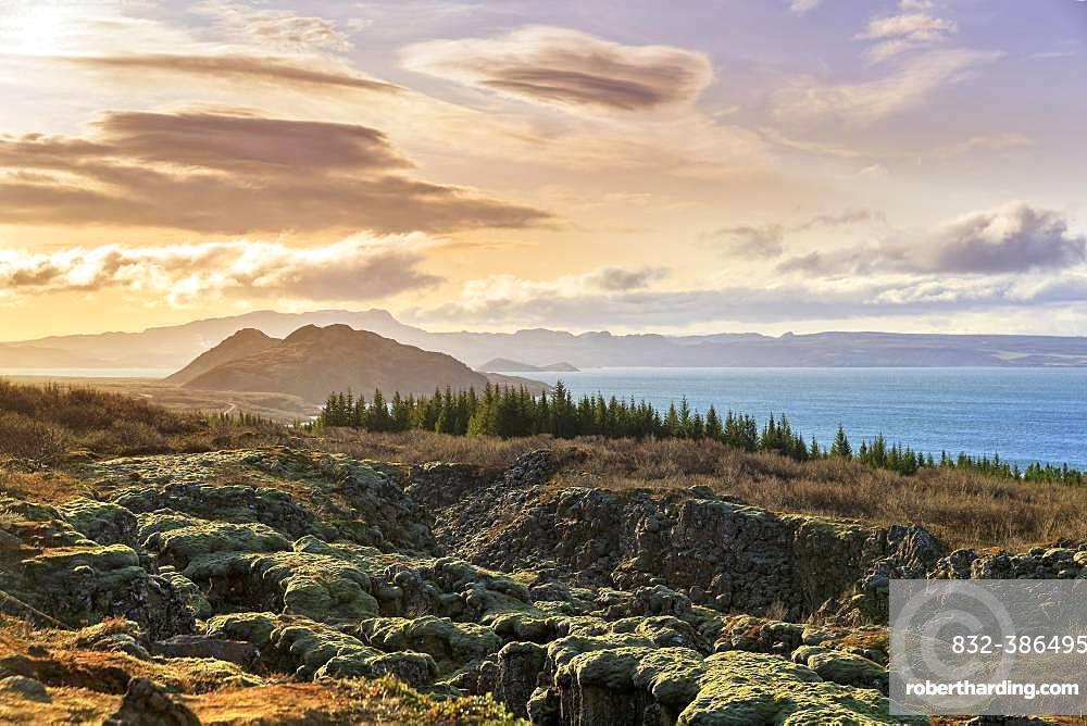 Pingvellir, Thingvellir National Park by the lake Pingvallavatn, Thingvallavatn, Golden Circle, Iceland, Europe