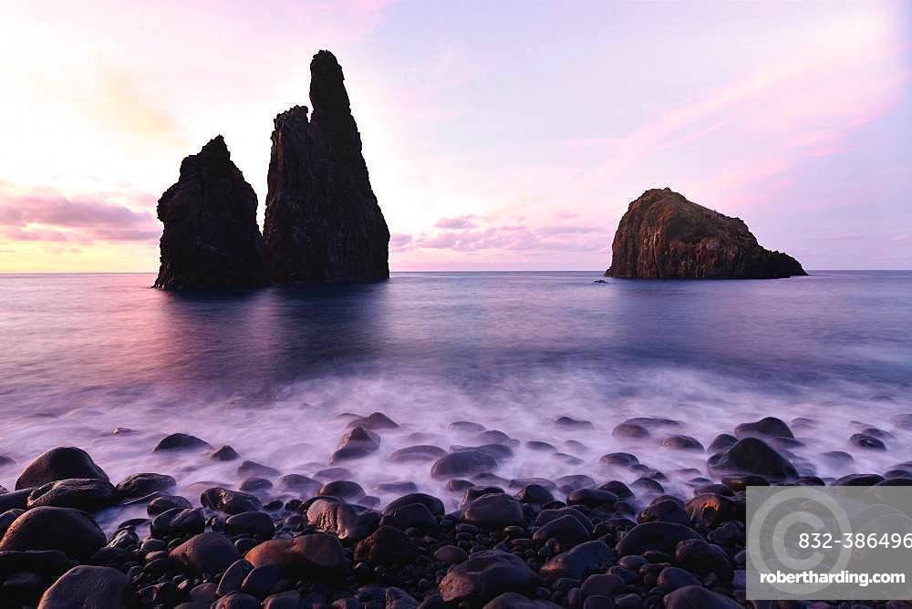 Volcanic rock formation Ilheus da Rib, steep coast of Ribeira de Janela, also Ribeira da Janela, sunset, Porto Moniz, island Madeira, Portugal, Europe